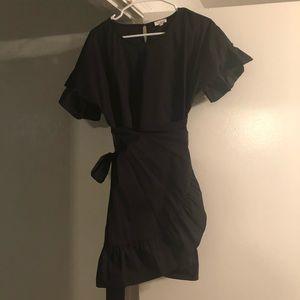 Tea & Cup Black Wrap Dress